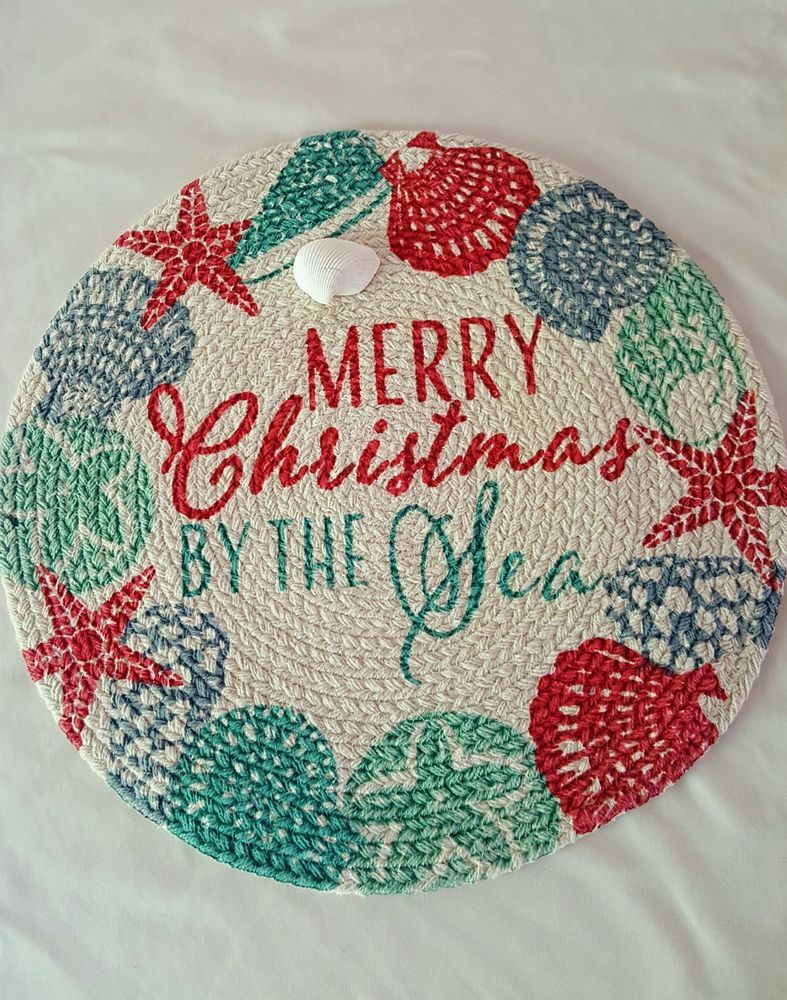 Coastal Christmas By The Sea Round Placemats Set Of 3 Holiday At Home Elrene Coastal Christmas Christmas Placemats Placemats