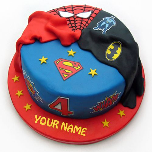 Write Name On Vanilla Sponge Superhero Birthday CakeBatman Cake With NamePrint Spiderman CakeCreate Of Superman