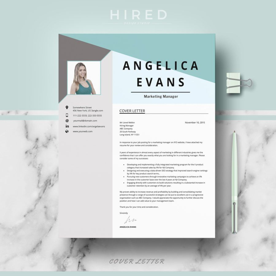 Professional Modern Resume Template for MS Word Angelica