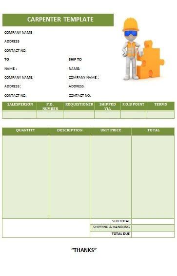Carpenter Invoice Template 17 Carpenter Invoice Templates