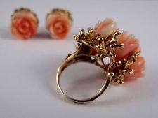 Antique Victorian 14K Gold Coral Rosebud Cluster Ring and Earrings Estate