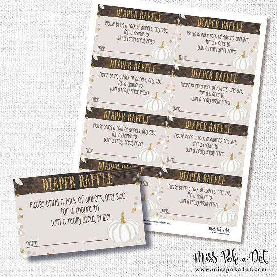 white pumpkin diaper raffle ticket printable fall baby shower