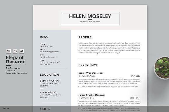 Professional  Clean ResumeCv Word Template Elegant Page Designs