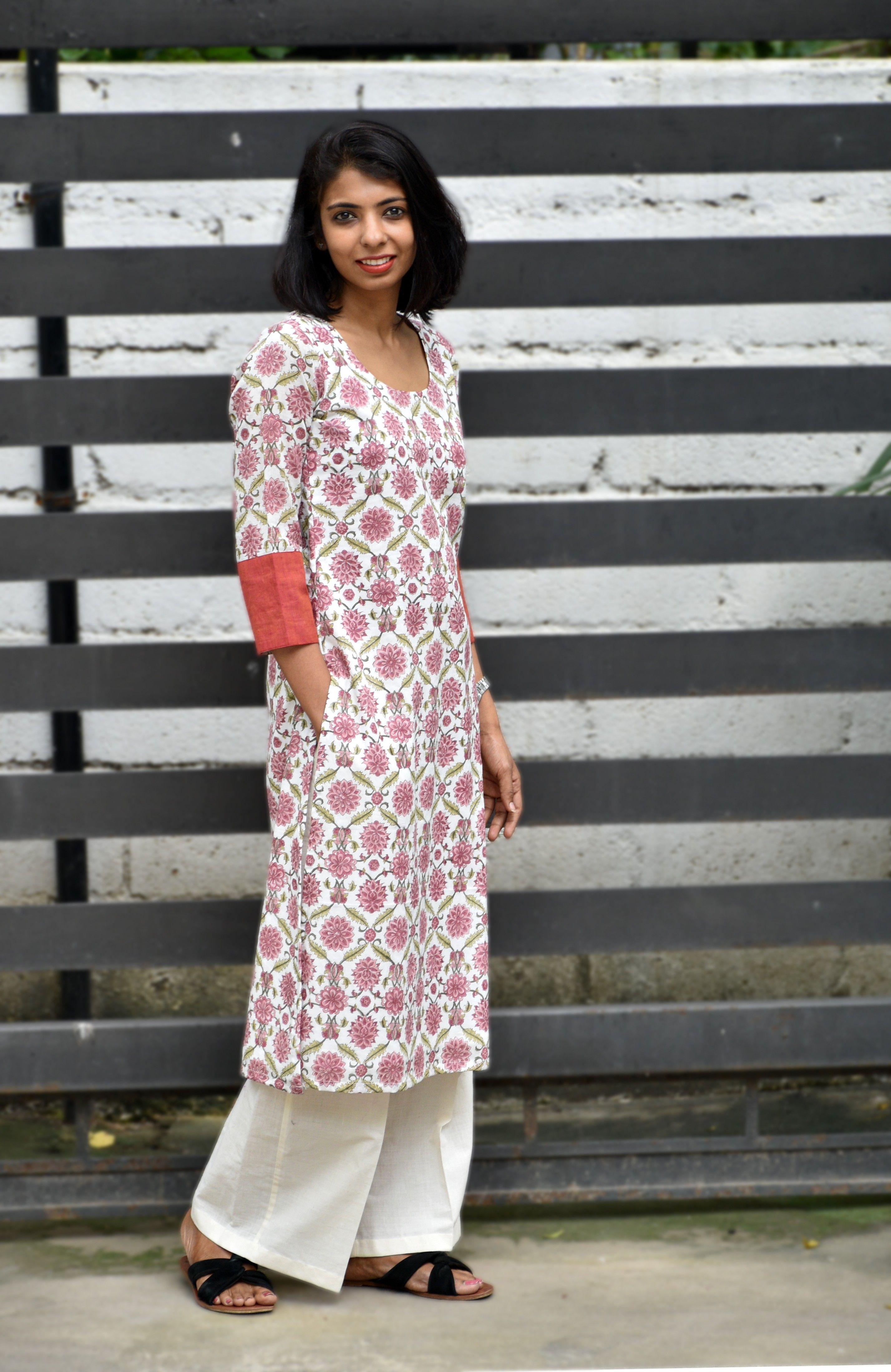 White and pink cotton printed kurta comfort clothing pinterest