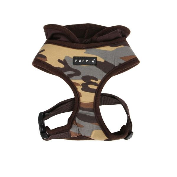 Hunter Hooded Dog Harness By Puppia Brown Camo Dog Harness