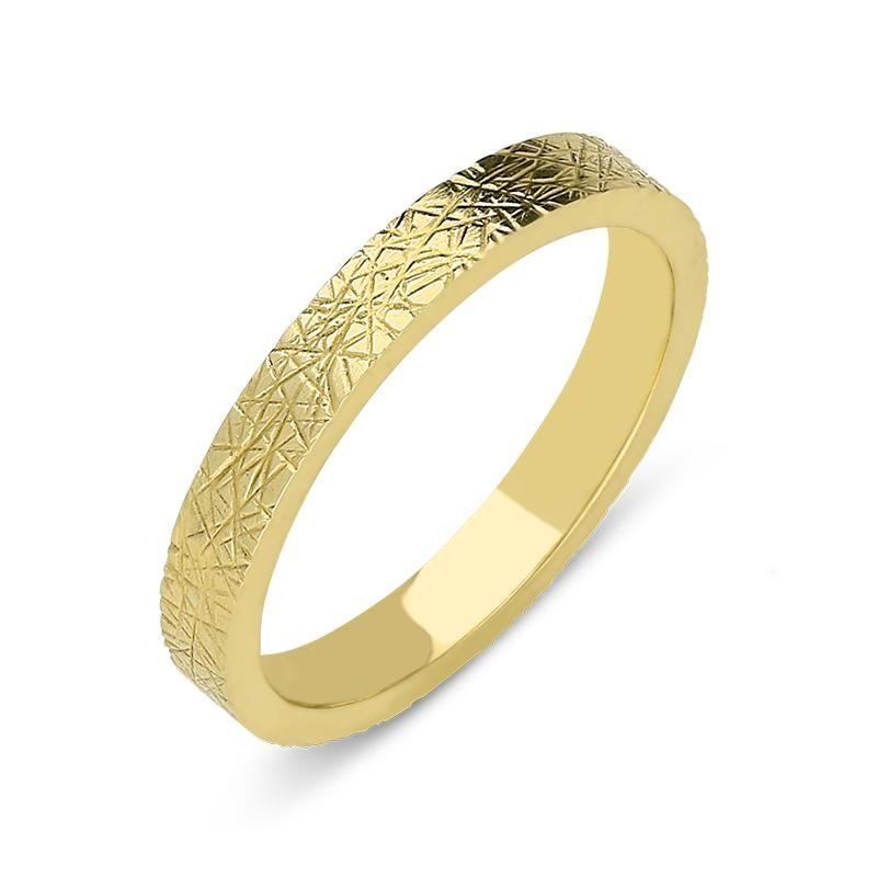 18ct yellow gold 3mm patterned wedding ring weddingring