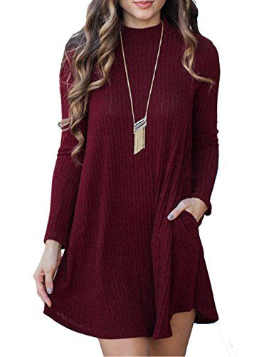 Womens Crewneck Knitted A Line Sweater Dress Short Sweater Casual Loose Dress >>> Read more  at the image link.