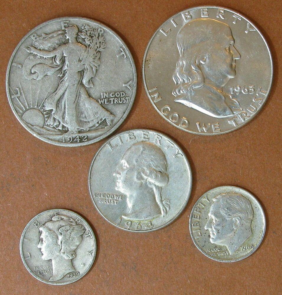 USA 5 Silver coin lot:Dime 1939