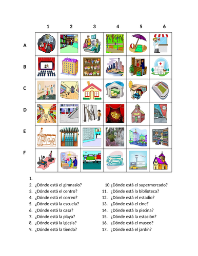 Lugares Places In Spanish Find It Worksheet Distance Learning Distance Learning Learning Worksheets Learning Place