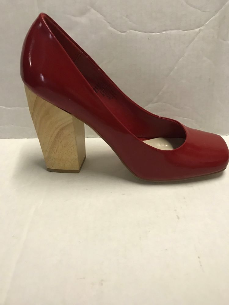 bb8f618f6953 Nine West Howboutme Red Patent Natural Wood Block Heel Pumps Shoe Size 9   NineWest  Classics  Casual