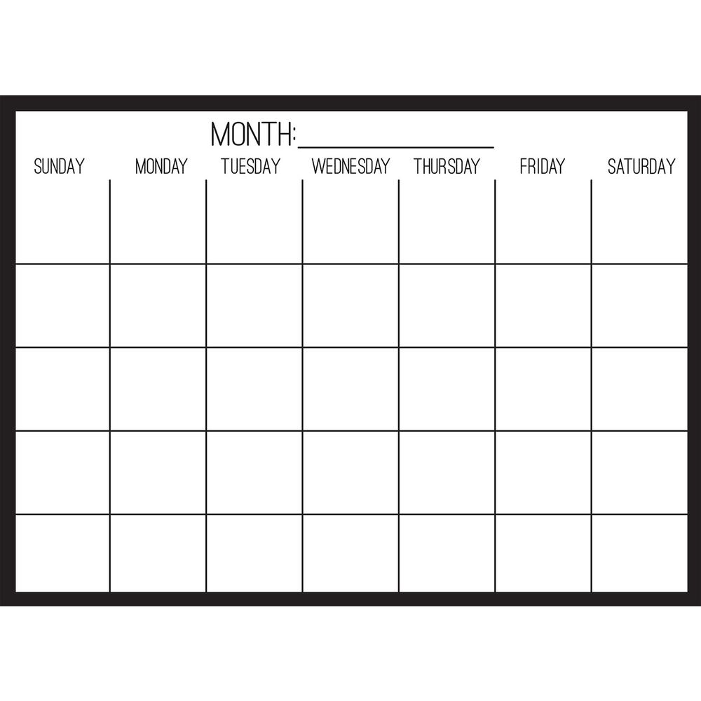 Wall Pops Black On Clear Monthly Calendar Decal WPE2801
