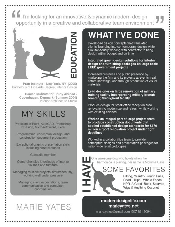 interesting resume from an interior designer\/graphic designer - visual designer resume