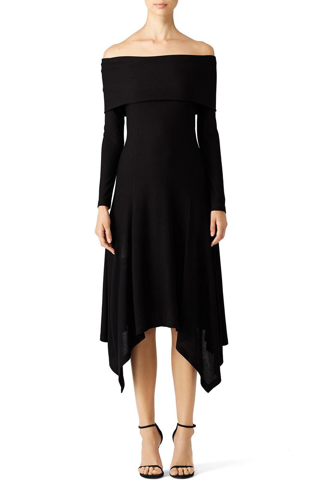 Black Fold Over Shoulder Dress by DEREK LAM for $300 - $320 | Rent the Runway