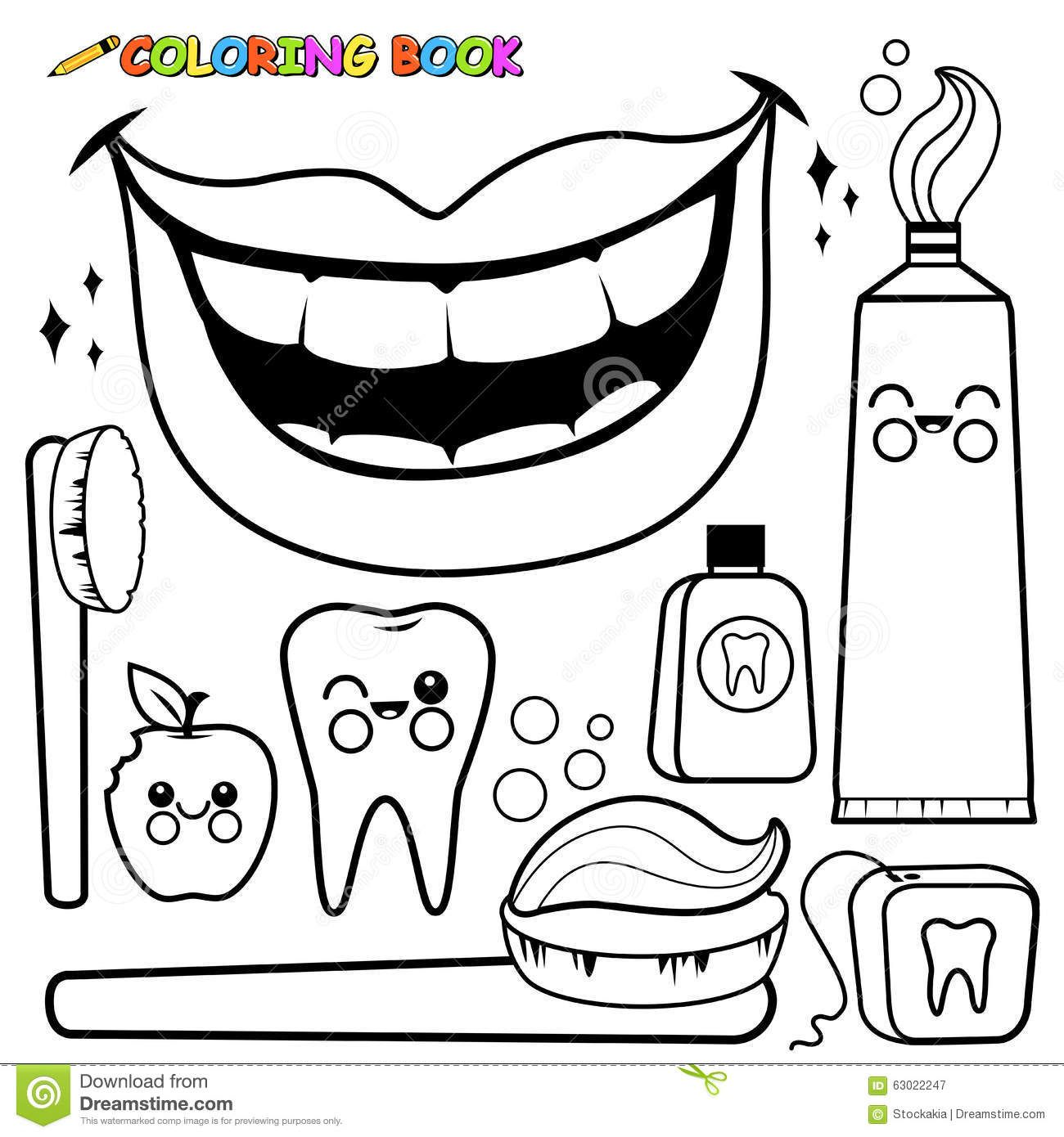 Coloring Page Dental Hygiene Vector Set Stock Vector