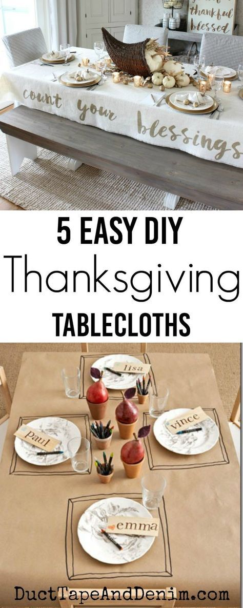 5 easy DIY Thanksgiving tablecloth ideas on DuctTapeAndDenim.com #thanksgivingdecor #thanksgivingtablecloths #thanksgiving #thanksgiving #thanksgivingtable #tablecloths