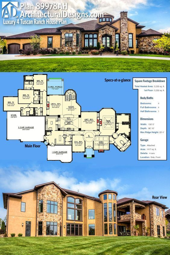 Plan 89978ah Luxury 4 Bed Tuscan Ranch House Plan Ranch House Plan Architectural Design House Plans Dream House Plans