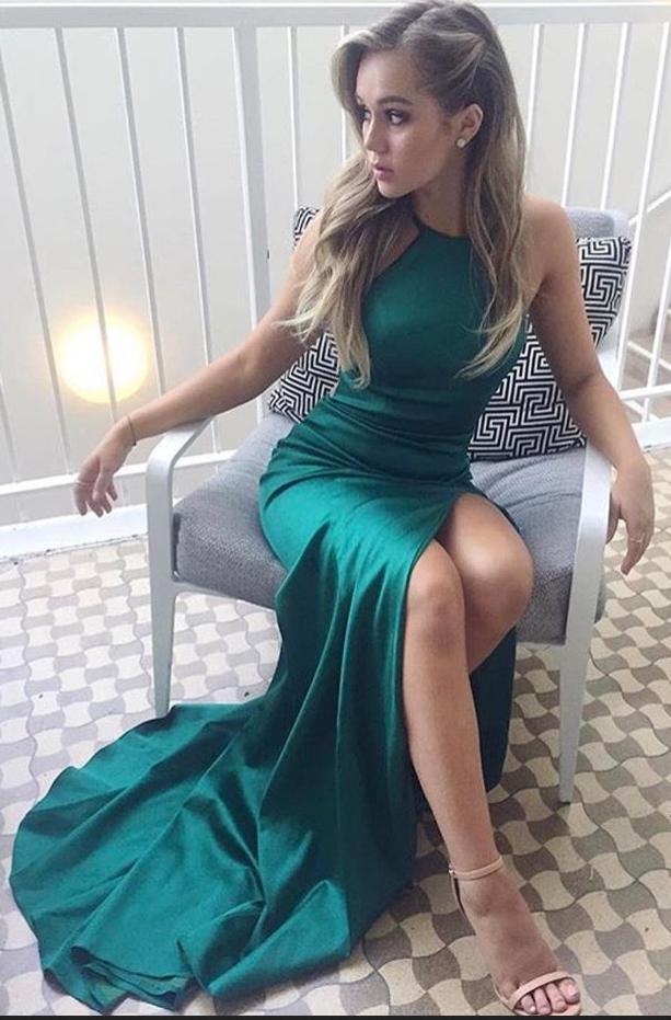 ee4f0e24e6 Emerald Green Satin Prom Dress,Sexy Backless Long Prom Dress,Side Slit Prom  Dress,Party Dress,Halter Prom Dress