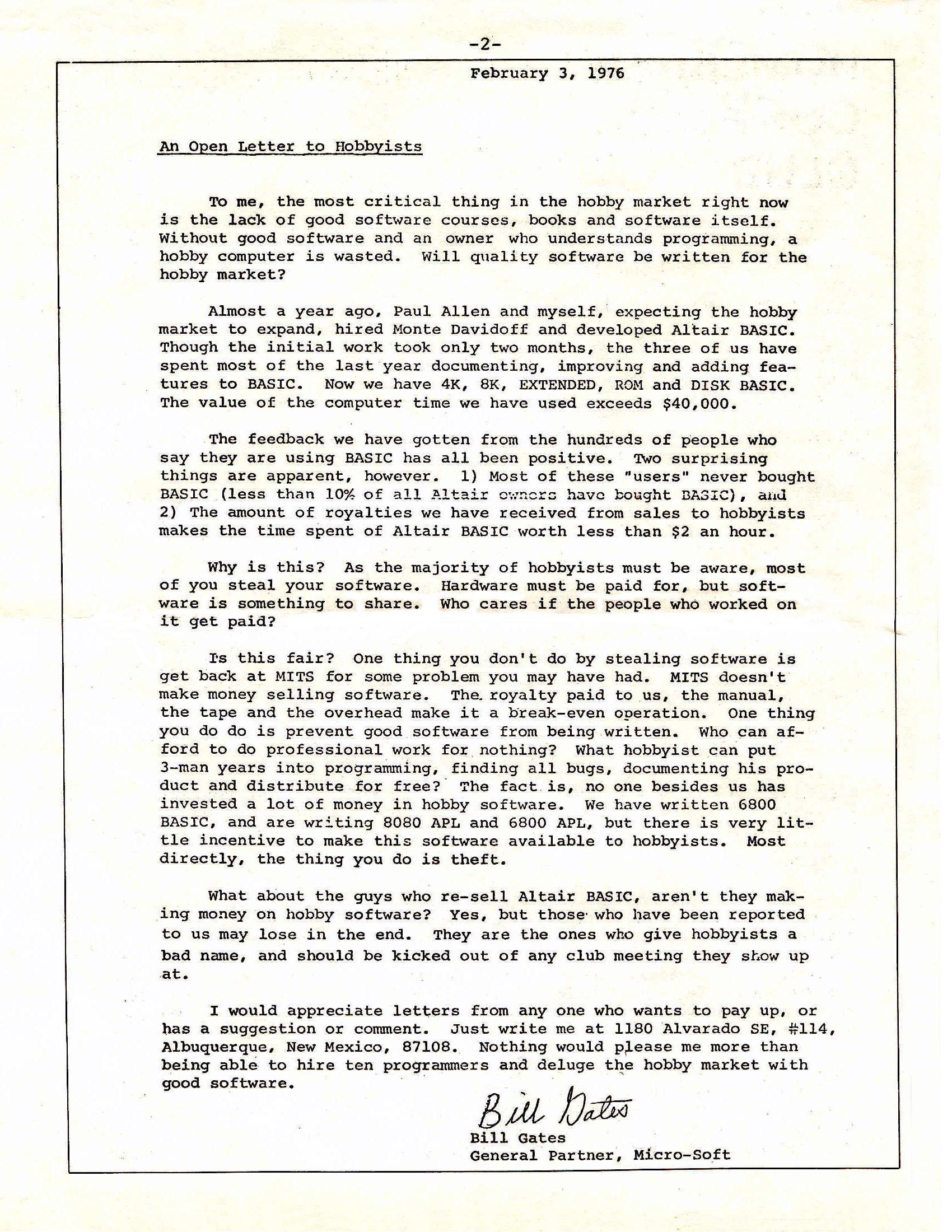 Carta De Bill Gates A Los Aficionados  Informtica