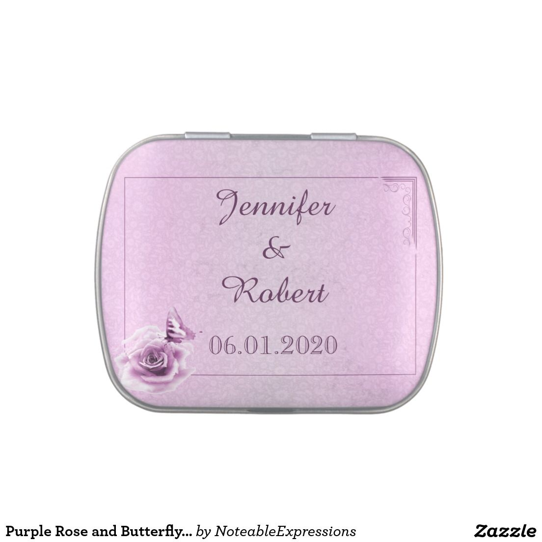 Purple Rose and Butterfly Wedding Tins Candy Tins | Wedding : Candy ...