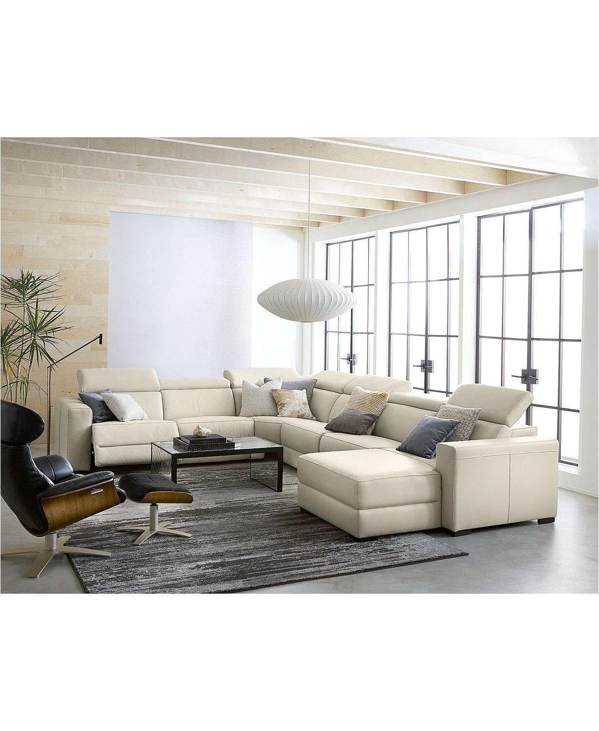 Fabulous Nevio 6 Pc Leather L Shaped Sectional Sofa With 3 Power Pabps2019 Chair Design Images Pabps2019Com
