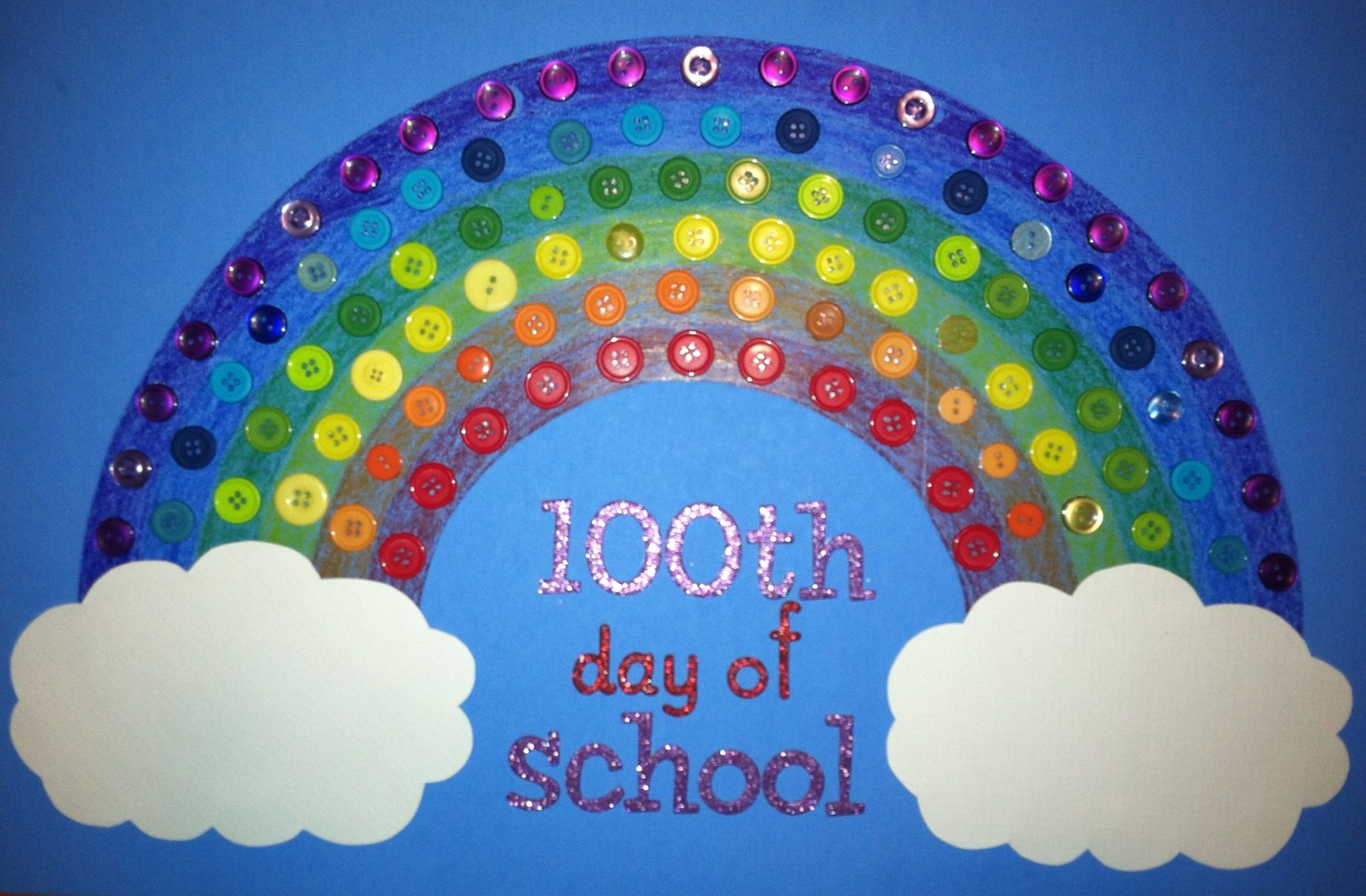 100th Day Of School Rainbow Made Of 100 Buttons