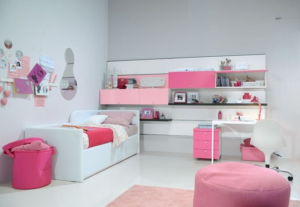 Simple kids room idea for girl and round ottoman also for Simple girls bedroom