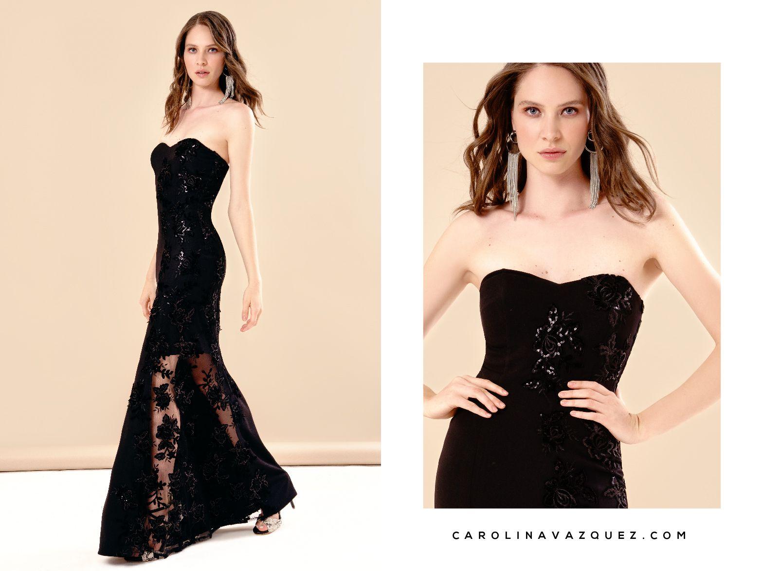 0050a0697 Exquisito vestido de fiesta largo con una delicada transparencia bordada en  lentejuela a tono. Escote