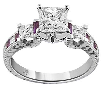 2 01 Carat Corina Amethyst Diamond 14kt White Gold Engagement Ring