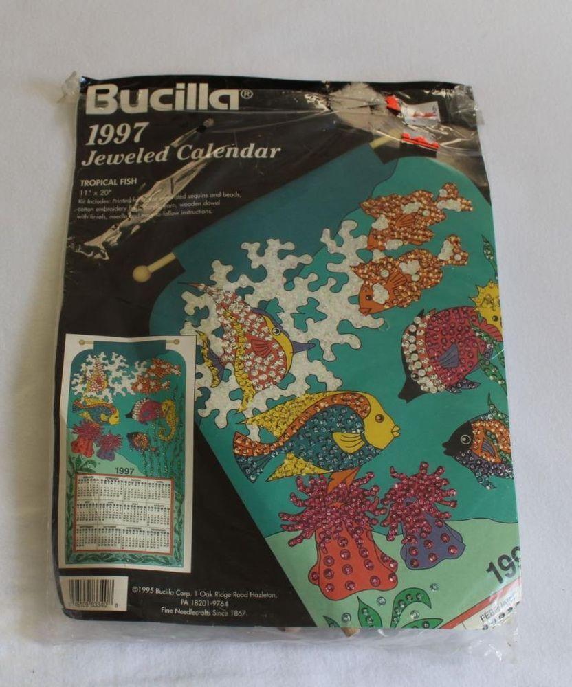"Bucilla Jeweled Calendar Tropical Fish Coral Undersea 1997 11"" x 20"" #Bucilla"