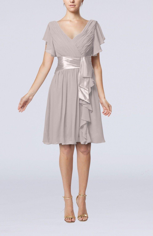 Hushed Violet Guest Dress  Romantic Short Sleeve Zip up Knee Length