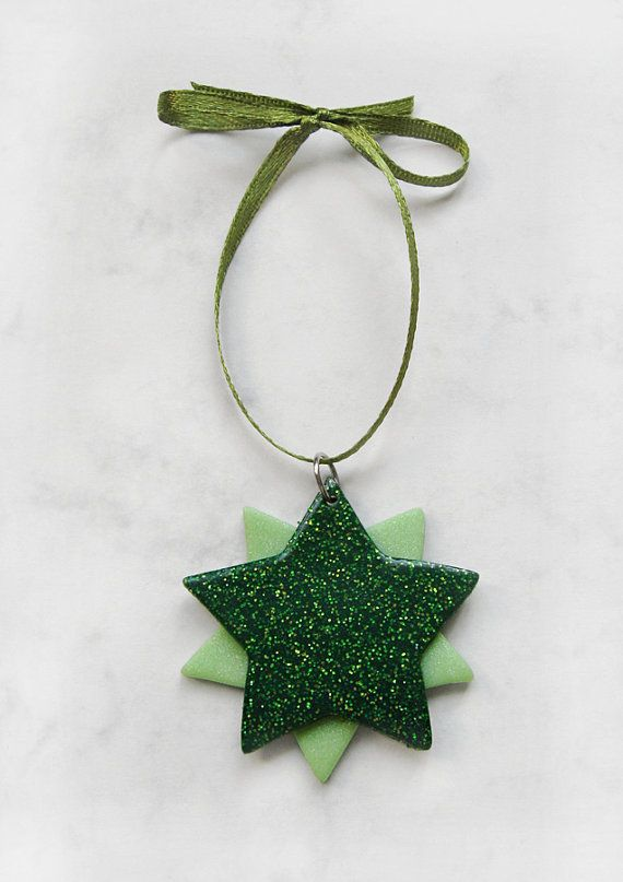 Green Christmas Star polymer clay Christmas tree ornament is made of