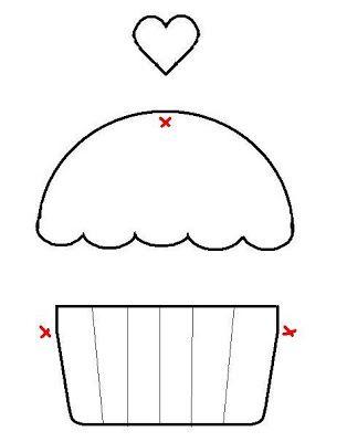 Template Cupcake Apliques De Costura Patchwork