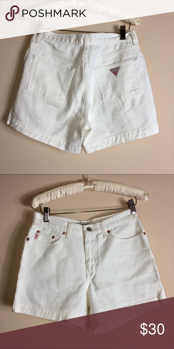 746f6f1983 Vintage 90's Guess? White high rise denim shorts Vintage 90's Guess? White  high rise