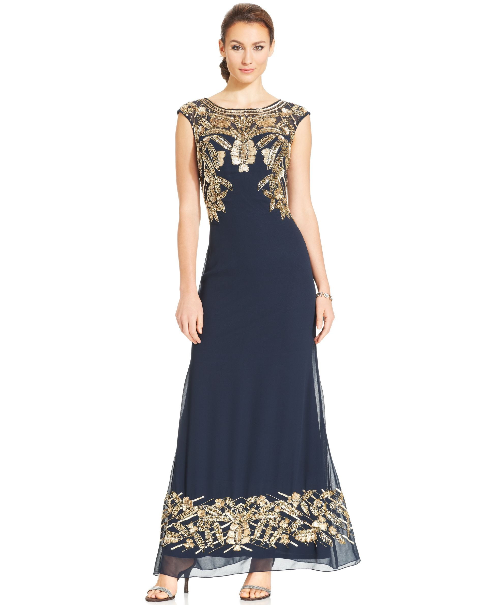 Js Collections Cap-Sleeve Embellished Gown | foto | Pinterest | Cap ...