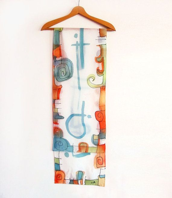Hand painted multicolor scarf. Artistic colorful by AHouseAtelier