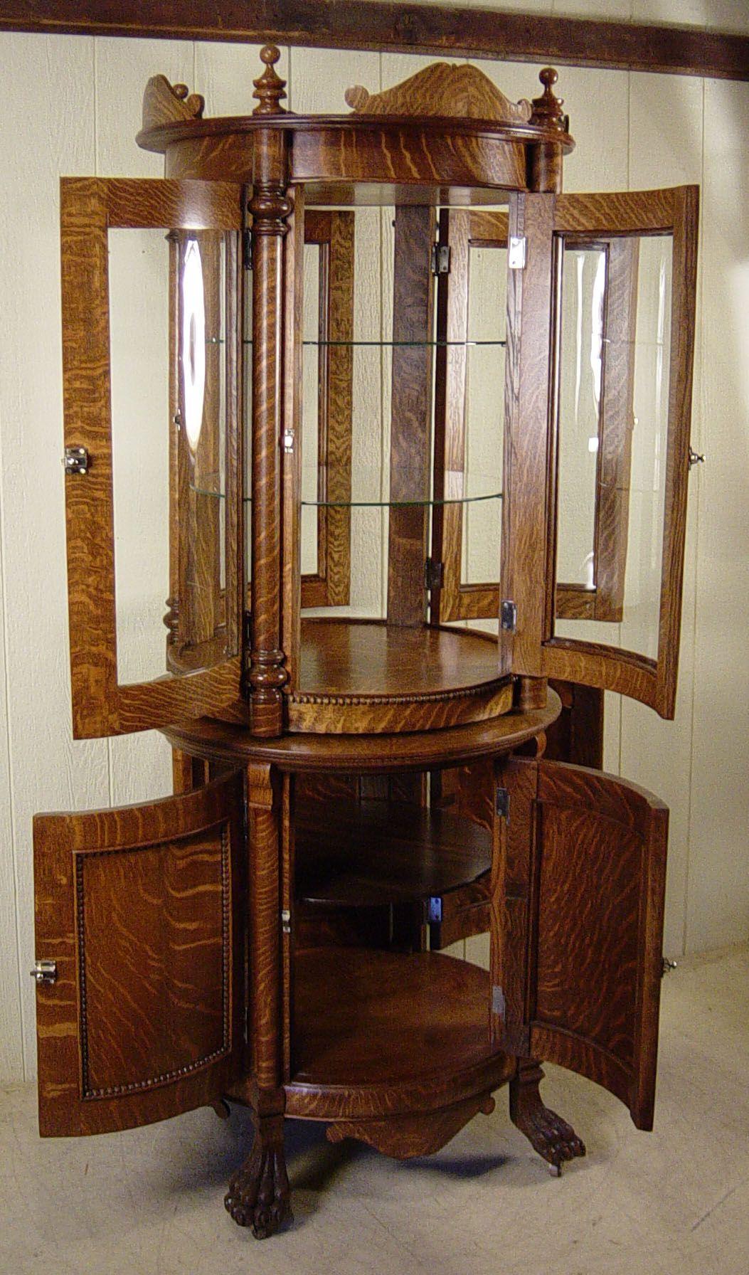 Custom Made Antique Oak Round Revolving Display