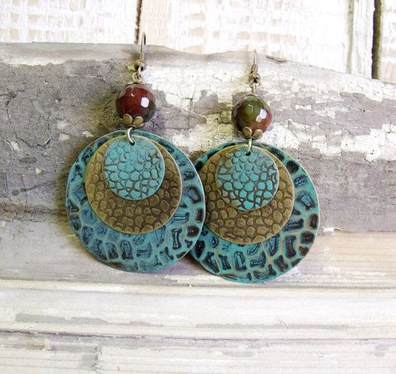 Patina brass earrings with agate bead rustic by agatechristina, $24.00