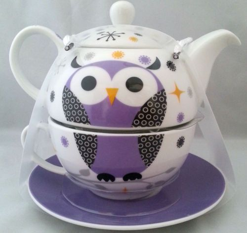 Purple Owl Porcelain Tea for One Teapot Tea Cup Saucer Set ...