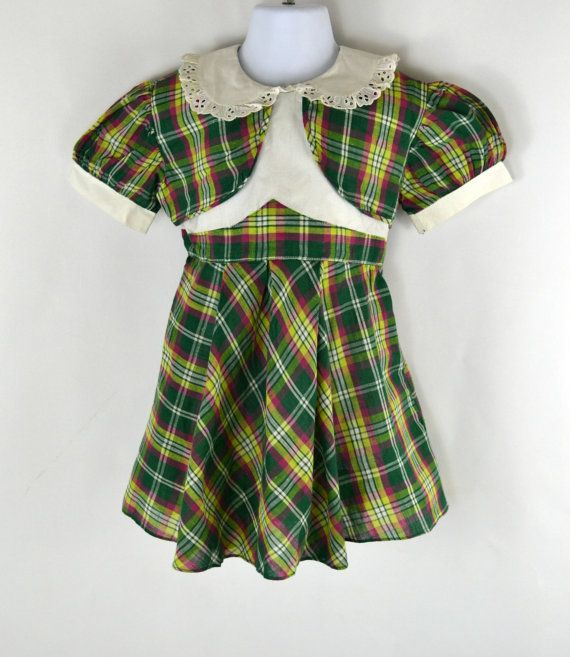 b113675124b58 1960s Girls Green Plaid Dress by Toni Togs, Vintage Toddler Dress ...