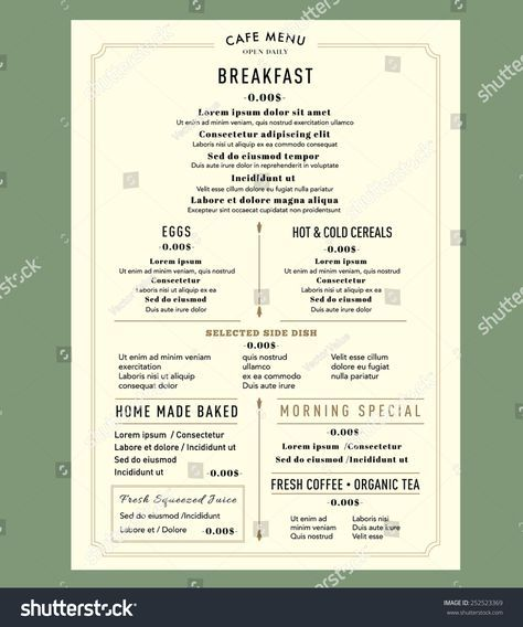 Menu Design For Breakfast Restaurant Cafe Graphic Design Template