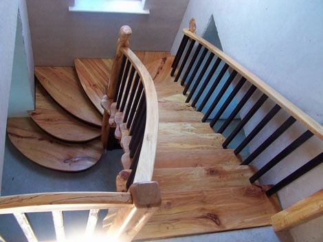 Semi Spiralled Spalted Beech Stairs With Painted Cut