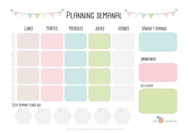 Descargable Planning semanal | Imprimir gratis, Ideas y Horario ...