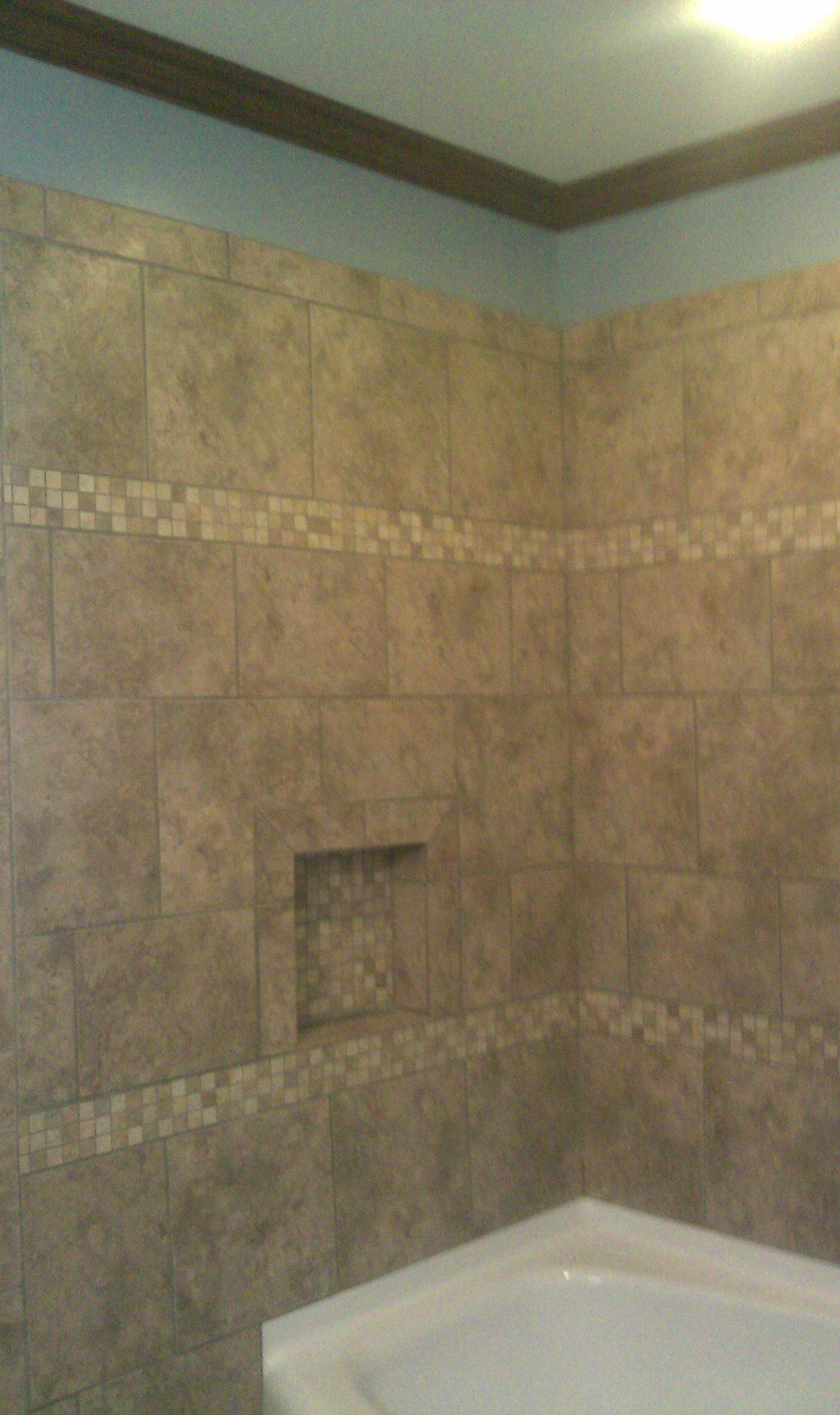Crown molding in bathrooms - Fiberglass Bathtub Tile Surround Stained Crown Molding