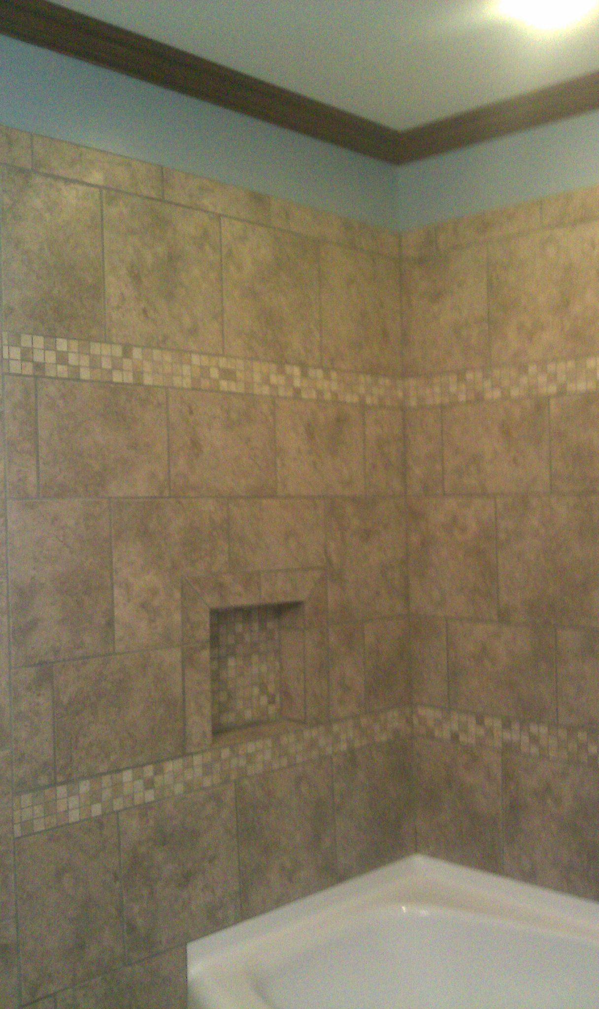 Fiberglass bathtub tile surround, stained crown molding | Tile ...