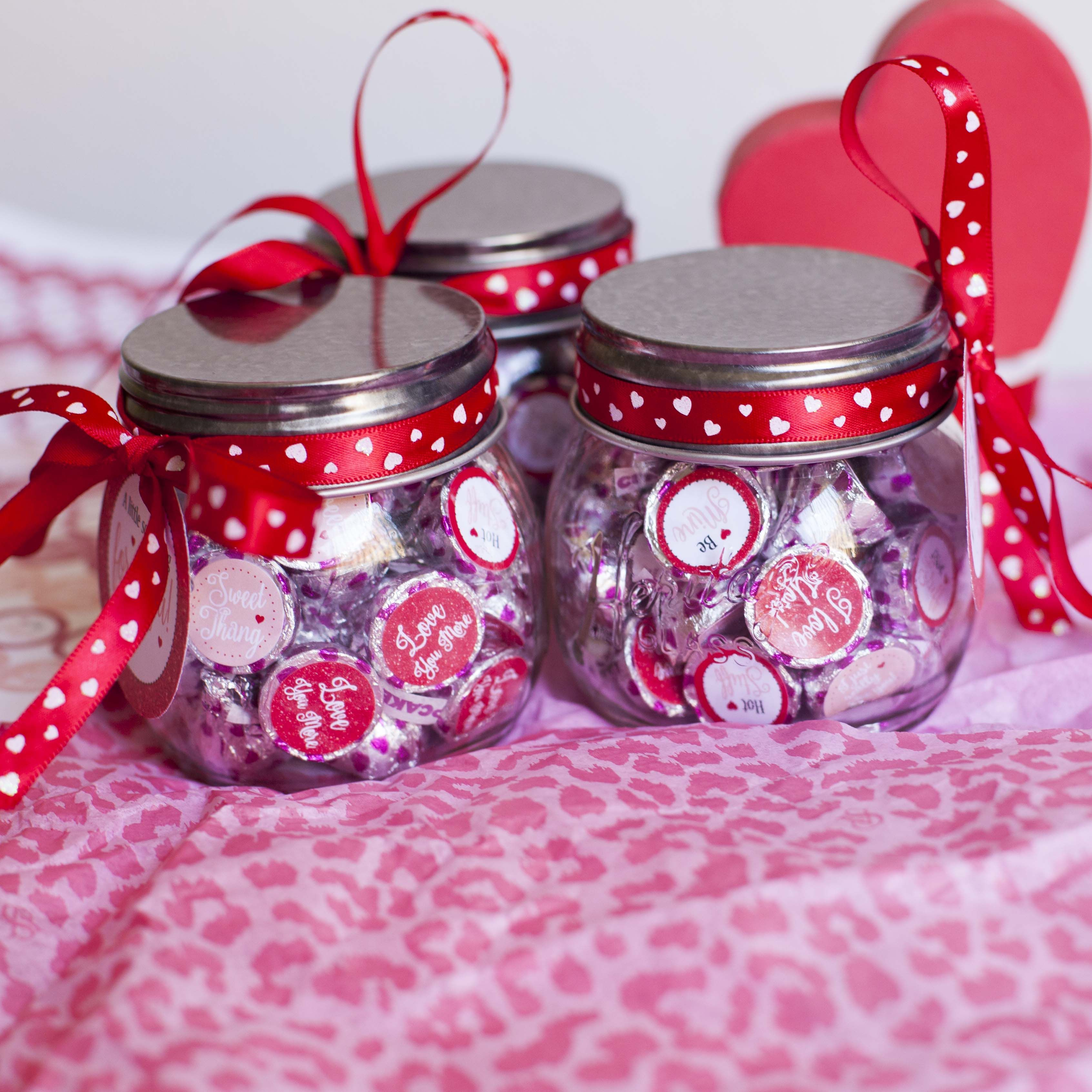 Valentines mason jar favors with hershey kisses, hershey kiss ...