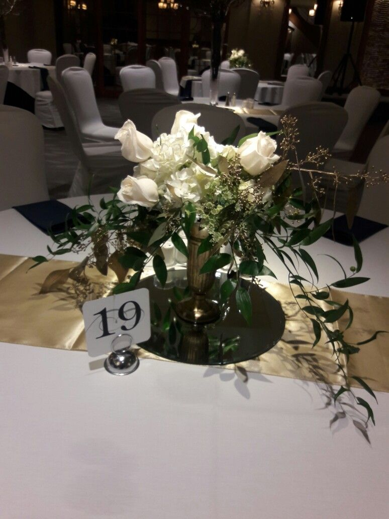 White And Gold Wedding Flower Centerpieces At The Madison Event
