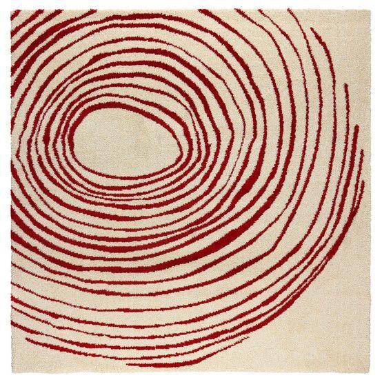 Eivor Cirkel White Red Rug Ikea Thumbprint 129 Square Shape