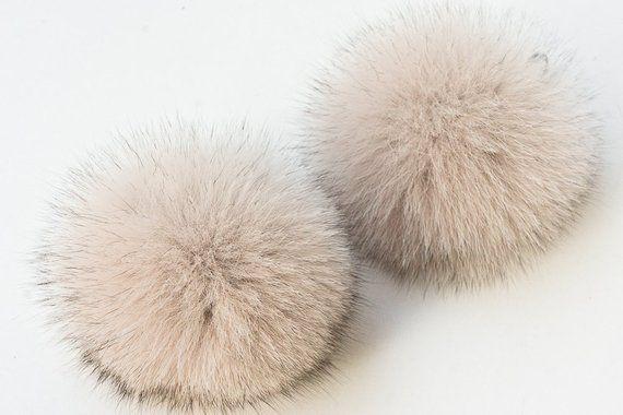 e99358311ae Real Fur Pom Pom Hat Fox Pompom Fox Fur Pompom Large Pom Poms Fur Ball