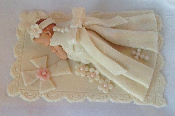 Fondant Christening Cake Topper Christening Baby Girl Baby