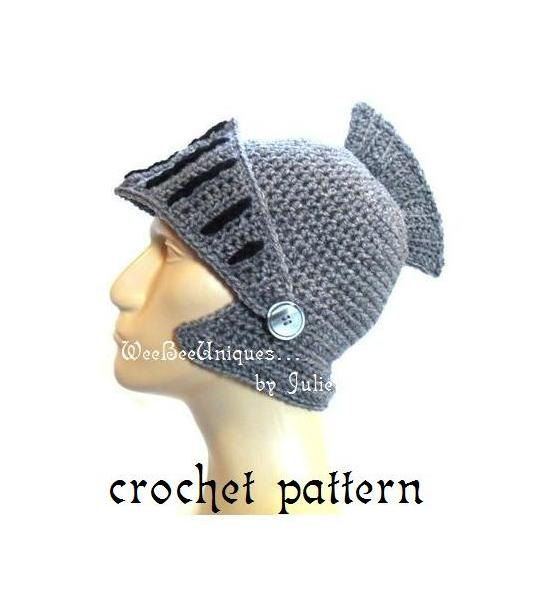 crochet pattern digital download knight helmet hat children & adults ...